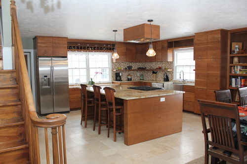 ... Full View Of Custom Kitchen With Cherry And Granite ...